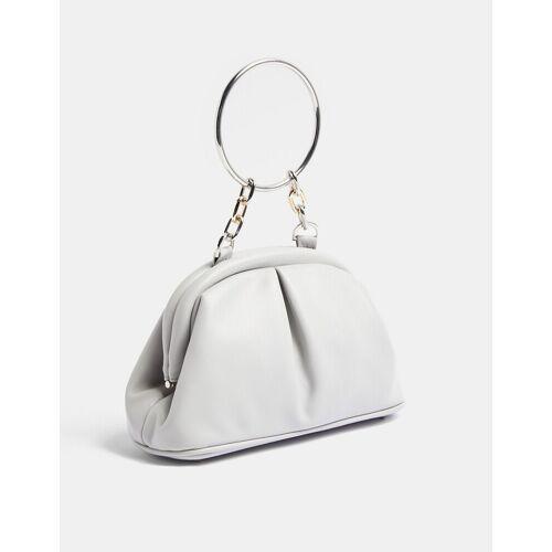 Topshop – Weiche Vintage-Handtasche in Grau One Size