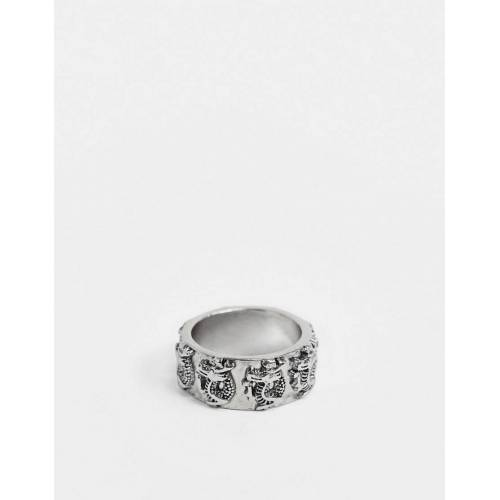 Uncommon Souls – Dicker Ring mit Drachen-Design in Silber S/M