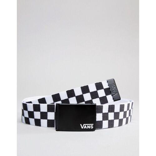 Vans – Deppster II – Webgürtel mit Schachbrettmuster in Weiß/Weiß One Size