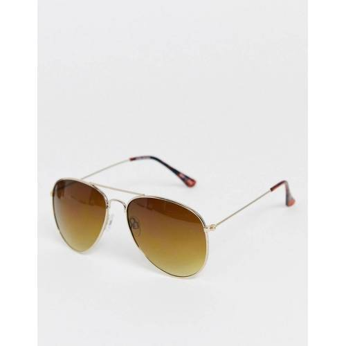 Vero Moda – Eckige Sonnenbrille-Gold No Size