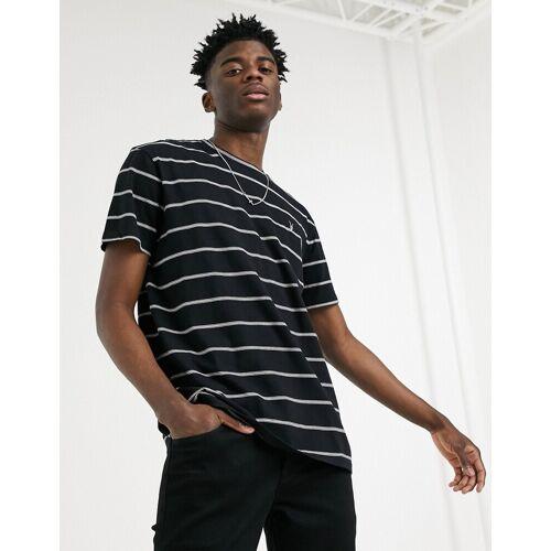 AllSaints – Louis – T-Shirt in Schwarz mit Streifen M