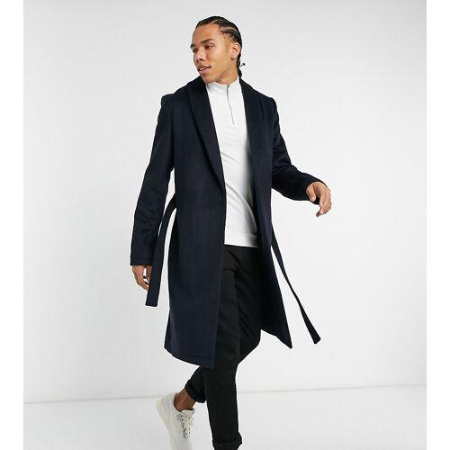 ASOS DESIGN Tall – Mantel aus Wollgewebe in Navy mit Gürtel M Lang