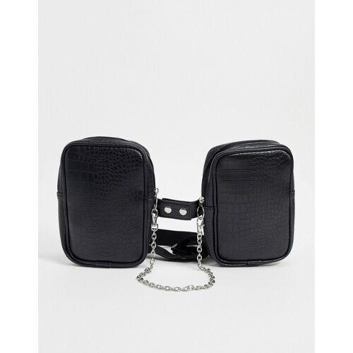 ASOS DESIGN – Umhängetasche mit Gurtzeug und Kettendetail aus schwarzem Kunstleder mit Kroko-Prägung No Size