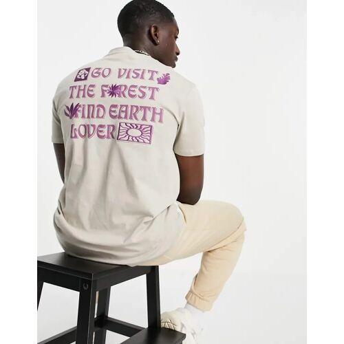 Bershka – T-Shirt in Grau mit Print am Rücken M