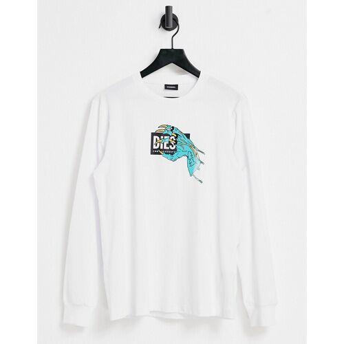 Diesel – T-Shirt in Weiß mit Monsterhand-Logo S