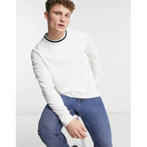 Fred Perry – Tramline – T-Shirt mit Kontraststreifen in Weiß XXL