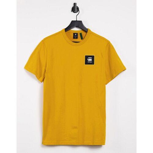 G-Star – T-Shirt mit Logo-Aufnäher in Gelb S