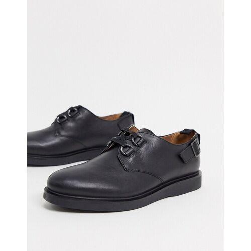 H by Hudson – Trent – Schnürschuhe mit Schnalle aus schwarzem Leder 40