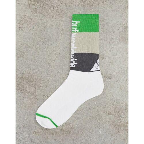 HUF – Peak – Gestreifte Socken in Weiß-Bunt No Size