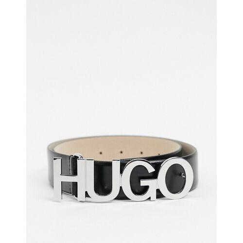 HUGO – Zula – Schwarzer Ledergürtel mit Logo 85cm