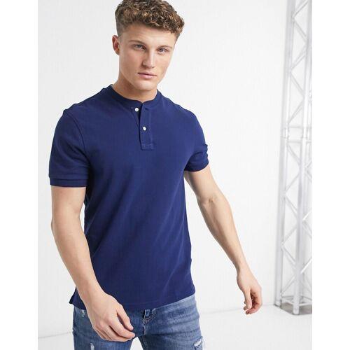 J Crew – Mox – Henley-T-Shirt mit Pikeemuster-Blau XXL