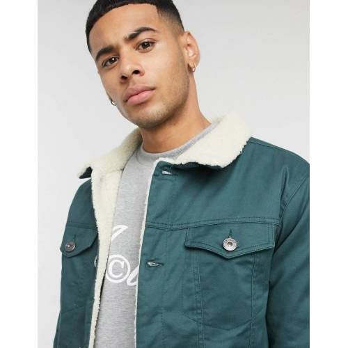 Le Breve – Grüne Jacke aus Twill mit Teddyfutter XS