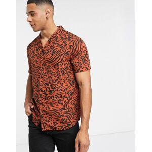 Another Influence – Hemd aus Krepp mit Tierfellmuster und Revers-Rot L