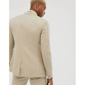 ASOS DESIGN Tall – Enge Anzugjacke aus Krepp in Stone 48 XL