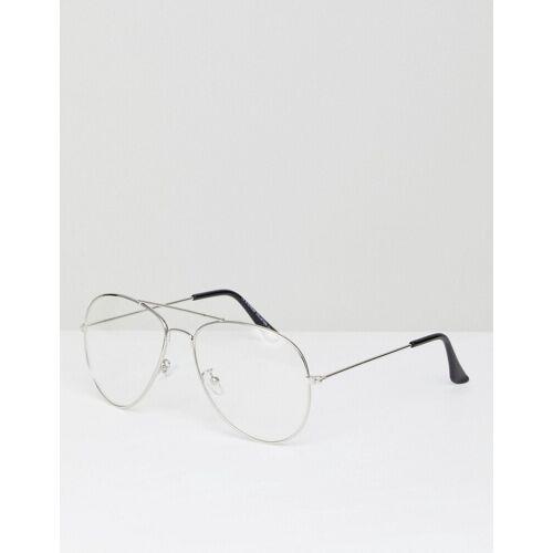 7x – Pilotensonnenbrille mit durchsichtigen Gläsern-Silber No Size