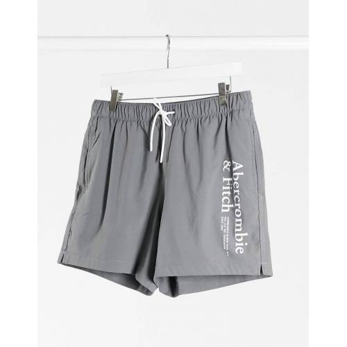 Abercrombie & Fitch – Badeshorts mit Logo in Grau, 5 Zoll XS