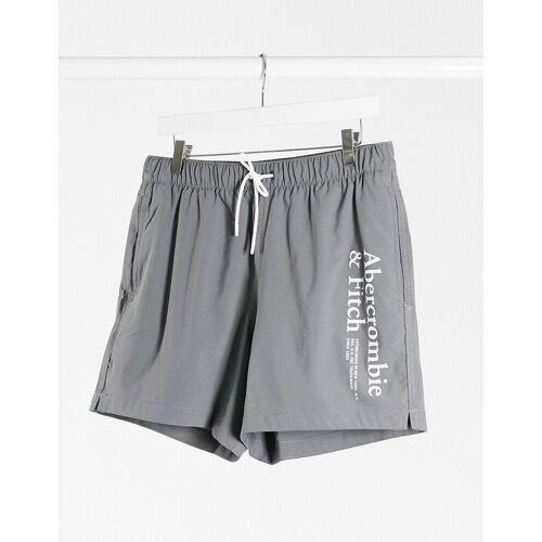 Abercrombie & Fitch – Badeshorts mit Logo in Grau, 5 Zoll XL