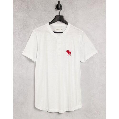 Abercrombie & Fitch – Weißes Henley-T-Shirt mit explodierendem Logo L