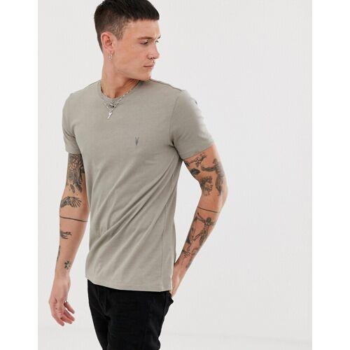 AllSaints – Tonic – T-Shirt mit Widderkopf-Logo in Grau M