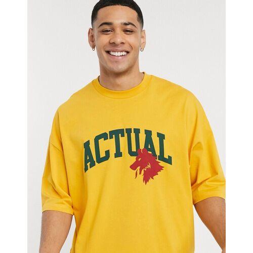 ASOS Actual ASOS – Actual – Oversize-T-Shirt mit Actual-Logo und Rollärmeln-Gelb XXS