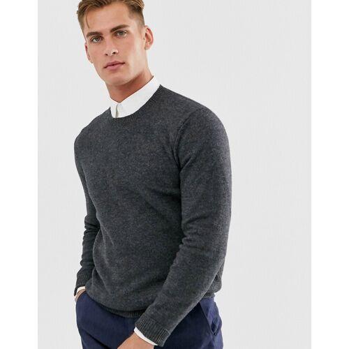 ASOS DESIGN – Anthrazitfarbener Pullover aus Lammwolle-Grau XXS
