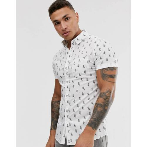 ASOS DESIGN – Enges Hemd in Weiß mit Rosenmotiv L