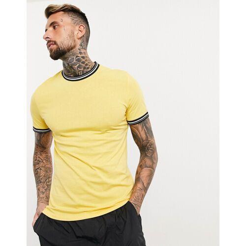 ASOS DESIGN – Gelbes T-Shirt mit Zierstreifen S