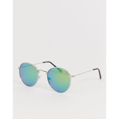 ASOS DESIGN – Runde Sonnenbrille mit grünen, gespiegelten Gläsern No Size
