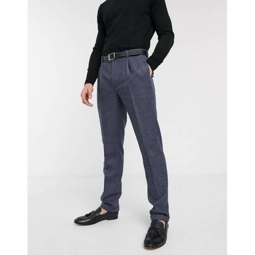 ASOS DESIGN – Schmale Anzughose aus Woll-Tweedmischung in Blau W32 L34