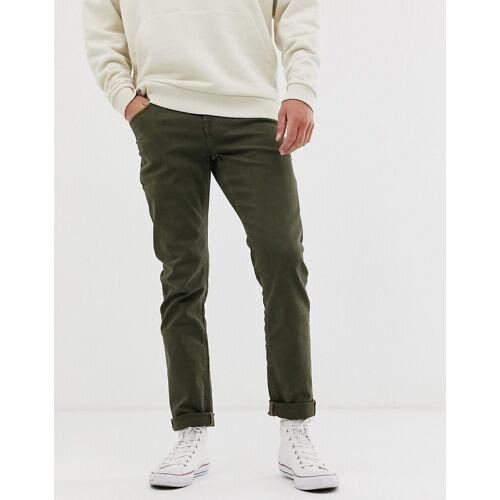 ASOS DESIGN – Schmale, khakifarbene Jeans-Grün W26 L30