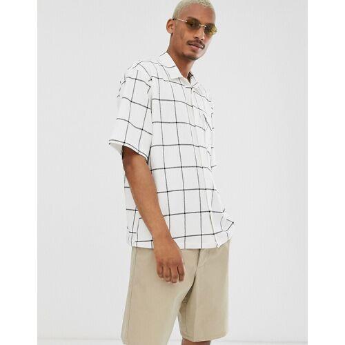 ASOS DESIGN – Übergroßes Hemd mit Fensterkaros-Weiß XL