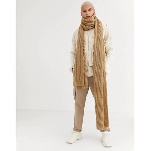 ASOS DESIGN – XXXL-Strickschal in Camel-Braun No Size