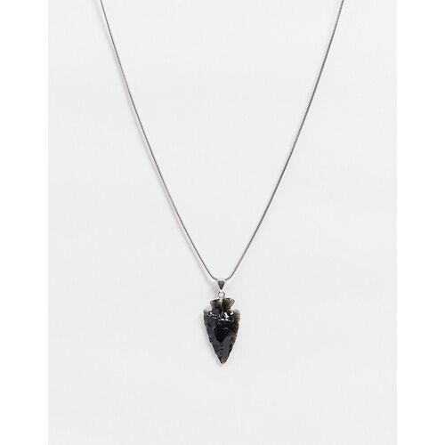 Aura by Calum Best – Halskette mit schwarzem Obsidian-Silber Einheitsgröße