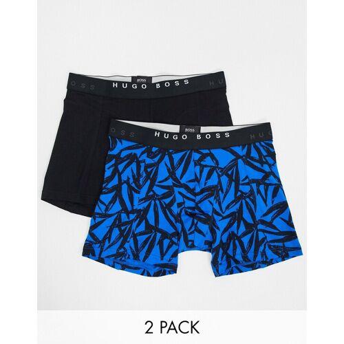 BOSS – Bedruckte Boxershorts, 2er-Pack-Blau S