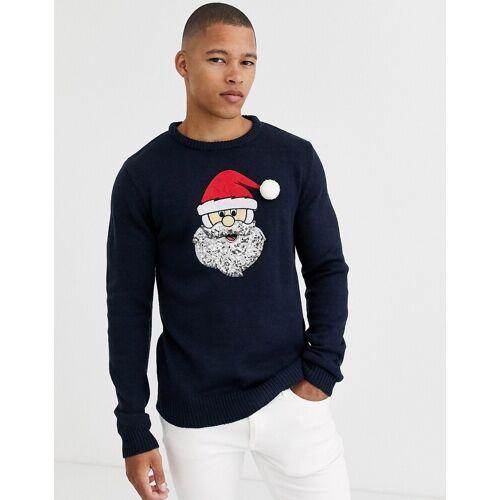 Brave Soul – Pullover mit Weihnachtsmann-Motiv-Navy S