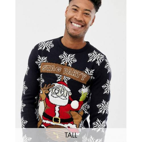 Brave Soul Tall – Stag Party – Weihnachtlicher Pullover-Navy S