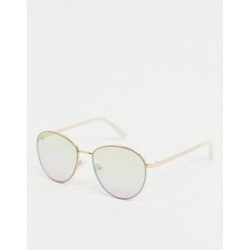 Dusk To Dawn – Runde Sonnenbrille in Gold mit Regenbogen-Gläsern No Size