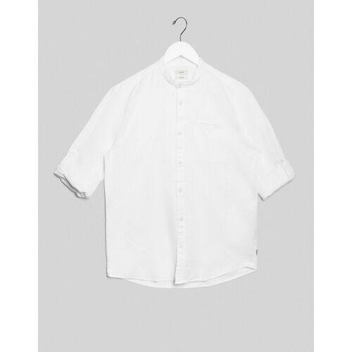 Esprit – Weißes Hemd mit Grandad-Kragen und hochgekrempelten Ärmeln M