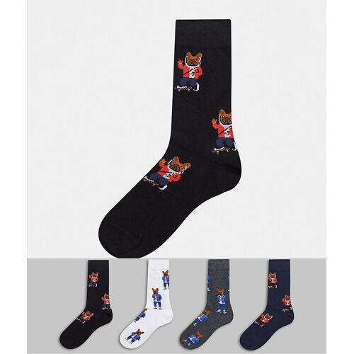 Jack & Jones – Schwarze Socken im 4er-Pack mit Hundmotiv Einheitsgröße