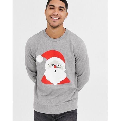 Jack & Jones – Weihnachtliches Sweatshirt mit Weihnachtsmannmotiv-Grau M