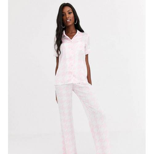 Missguided Tall – Schlafanzughose mit Hahnentrittmuster-Rosa 34