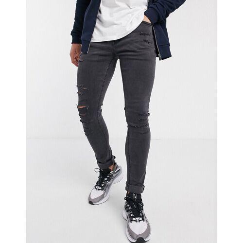 New Look – Enge Jeans in Dunkelgrau in zerschlissener Optik-Schwarz W30 L34