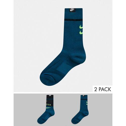 Nike – Swoosh– Blaugrüne Socken, 2er-Pack M