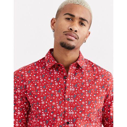 Only & Sons – Rotes Hemd mit weihnachtlichem Print S