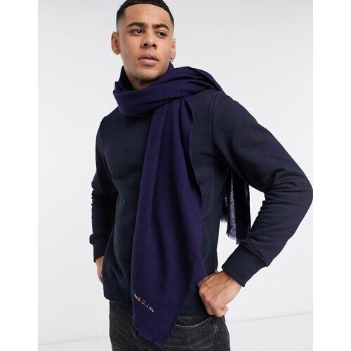 Paul Smith – Blauer Wollschal mit gesticktem Logo No Size
