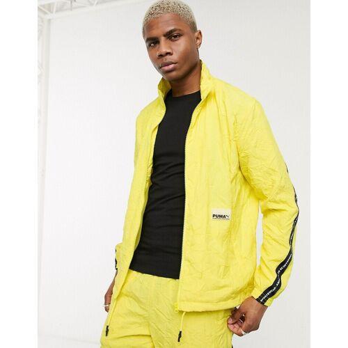 Puma – Evide – Zitronengelbe Jacke mit Streifenband-Grün S