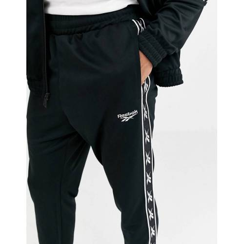 Reebok – Schwarze Jogginghose mit Vektorstreifen L