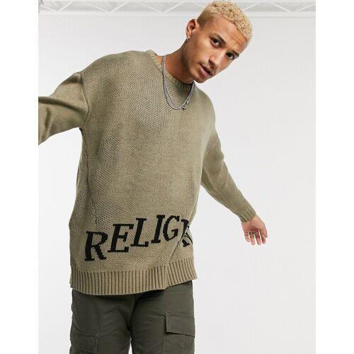 Religion – Pullover mit Logo in Beige XS