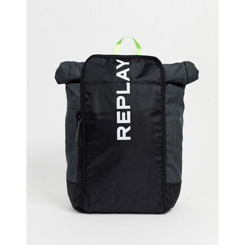 Replay – Sportlicher Rucksack mit Logo-Grau Einheitsgröße