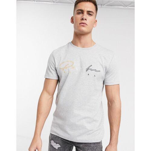 "River Island – Graues T-Shirt mit ""Prolific""-Stickerei XS"